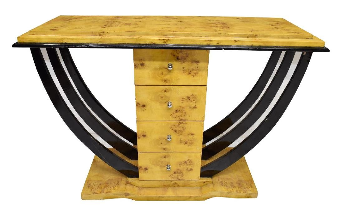 Art deco birds eye maple console table french art deco birds eye maple console table geotapseo Image collections