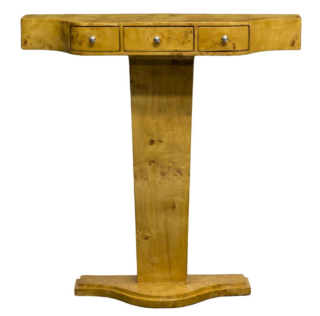 FRENCH ART DECO STYLE BIRDSEYE CONSOLE TABLE - 2