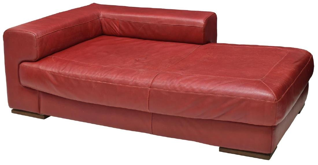 MODERN RED LEATHER CHAISE LOUNGE