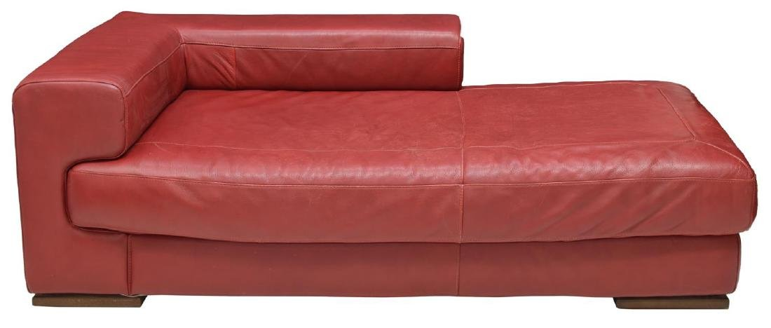 MODERN RED LEATHER CHAISE LOUNGE - 2