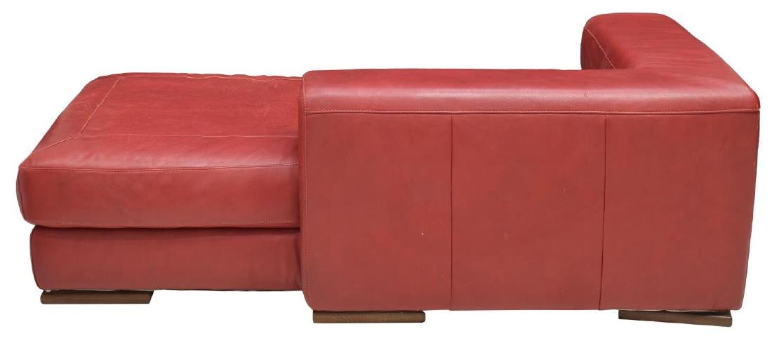 MODERN RED LEATHER CHAISE LOUNGE - 3