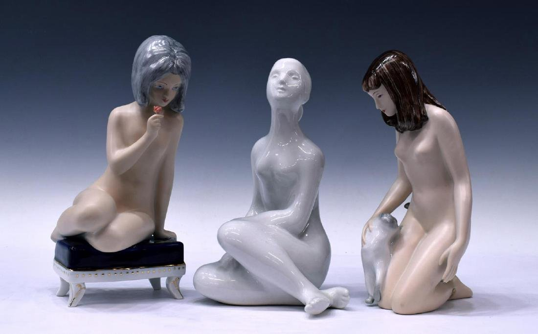 (3) ROYAL DUX PORCELAIN FIGURES, FEMALE NUDES