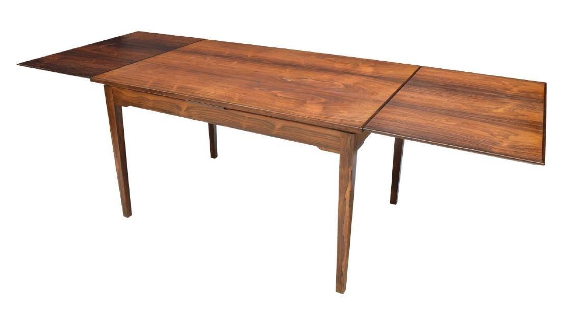 DANISH MODERN ROSEWOOD DRAW LEAF DINING TABLE - 2