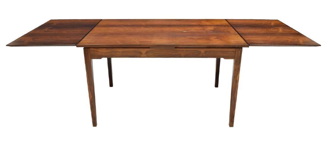 DANISH MODERN ROSEWOOD DRAW LEAF DINING TABLE - 3