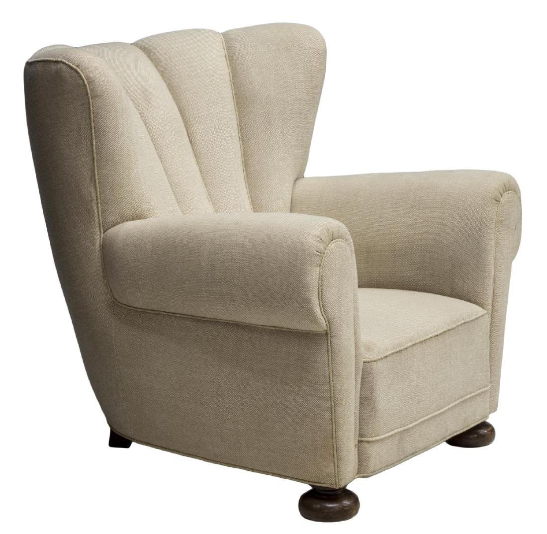 DANISH SCALLOPED TOP UPHOLSTERY WINGBACK ARMCHAIR