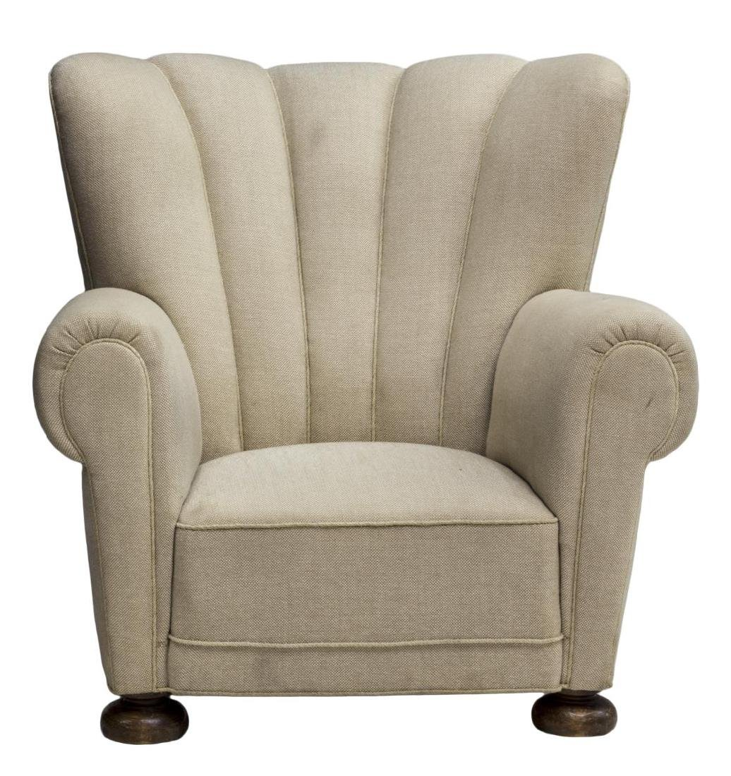 DANISH SCALLOPED TOP UPHOLSTERY WINGBACK ARMCHAIR - 2