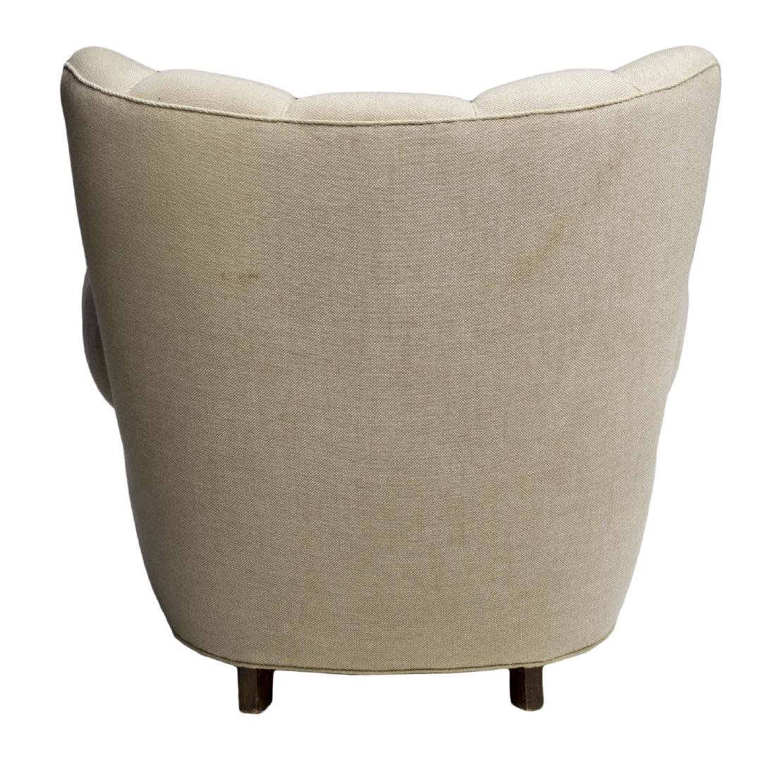 DANISH SCALLOPED TOP UPHOLSTERY WINGBACK ARMCHAIR - 3