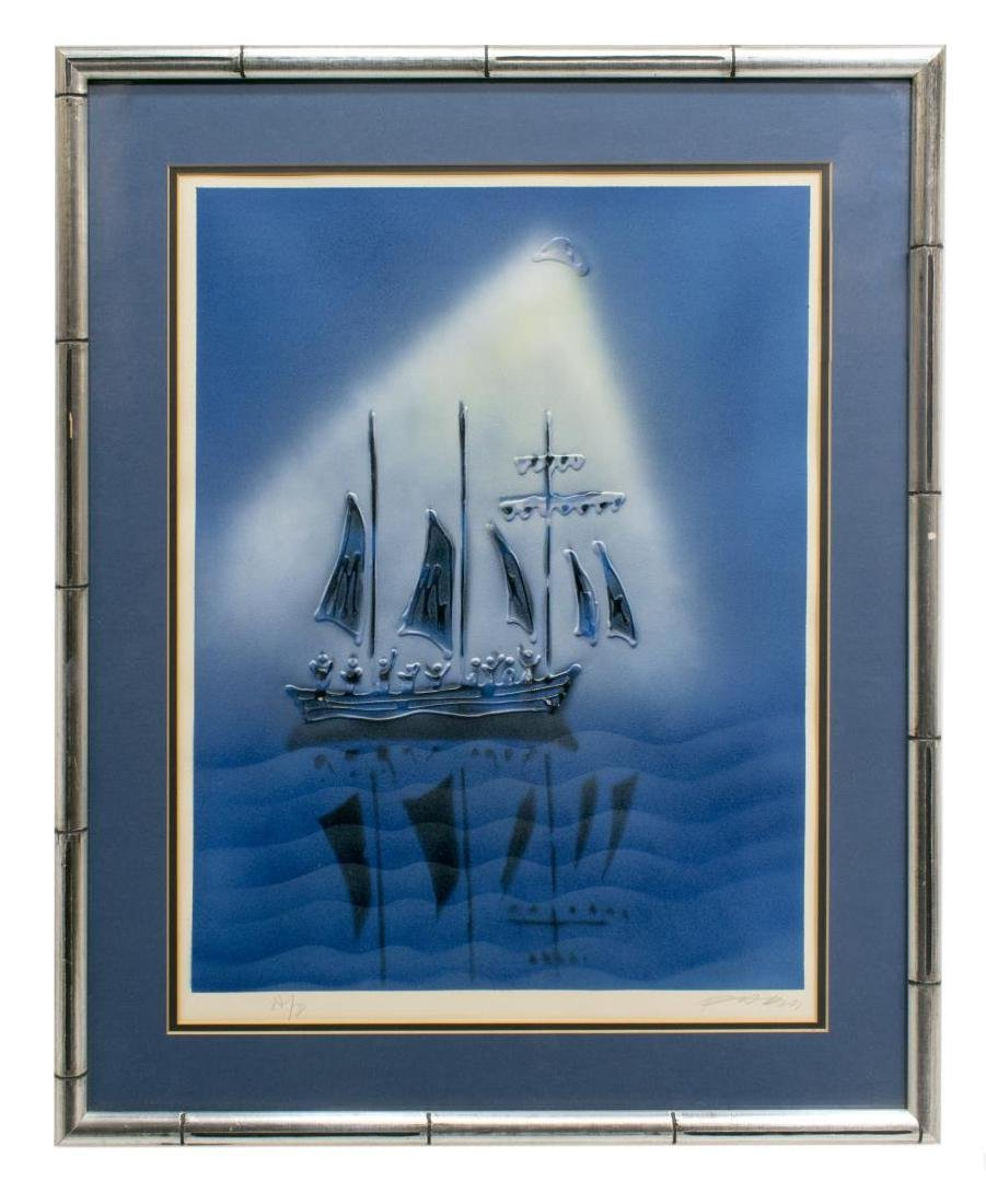 FRAMED ARTIST PROOF MOONLIT SHIP, ILLEGIBLY SIGNED - 2