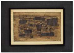 FRAMED ABSTRACT LITHOGRAPH SIGNED 1955