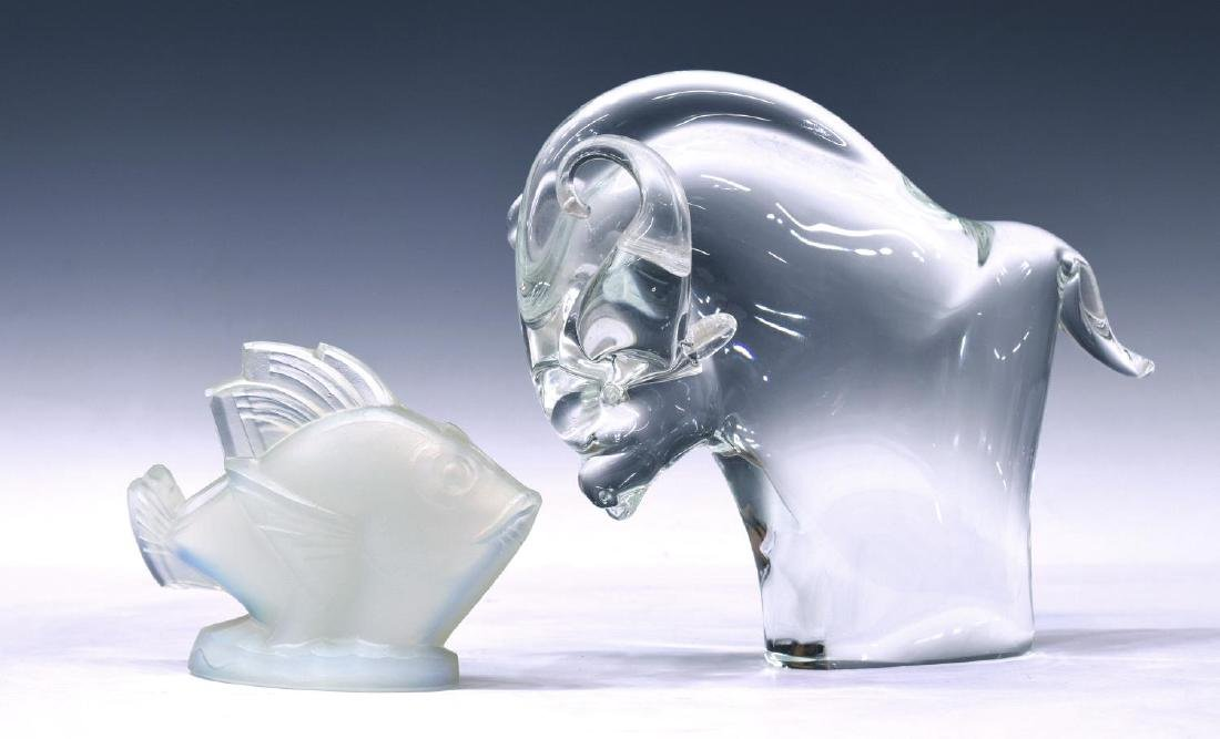 (2) ZANETTI MURANO ART GLASS BULL & SABINO FISH