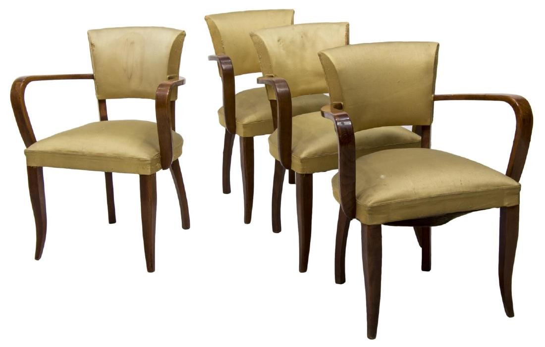 (4) FRENCH MID-CENTURY OPEN ARMCHAIRS, C. 1950