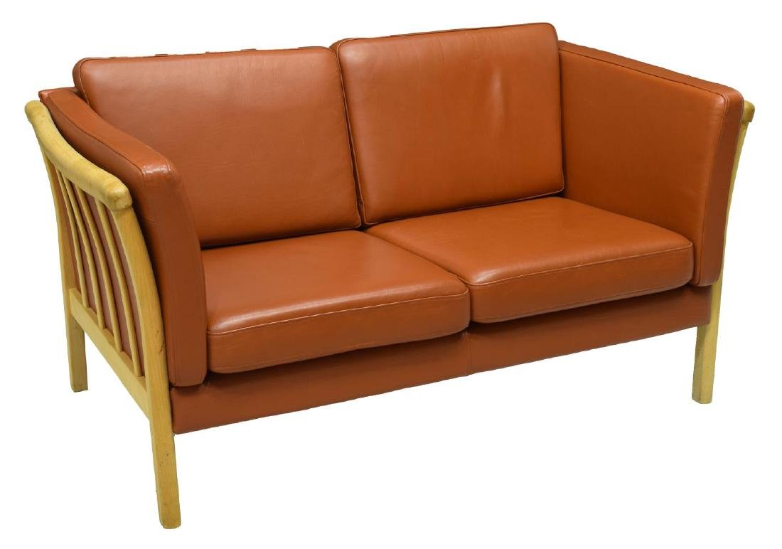 DANISH MODERN LEATHER UPHOLSTERED LOVE SEAT