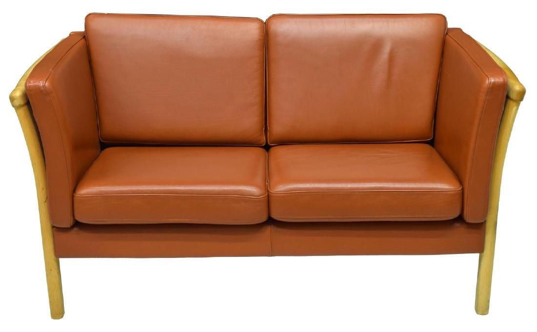 DANISH MODERN LEATHER UPHOLSTERED LOVE SEAT - 2