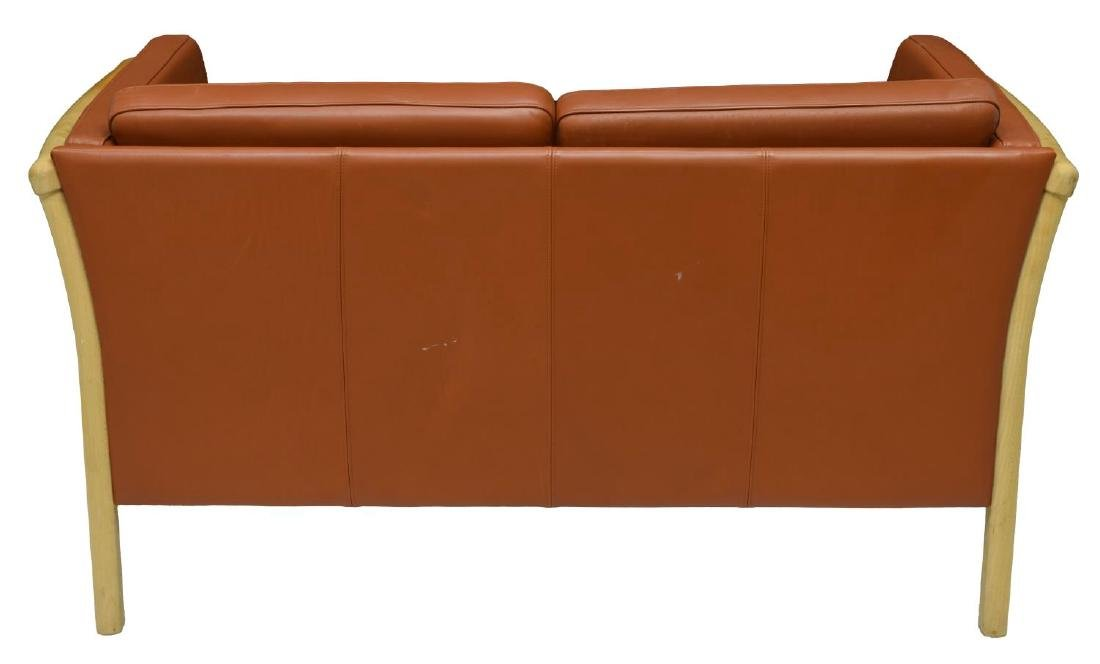 DANISH MODERN LEATHER UPHOLSTERED LOVE SEAT - 3
