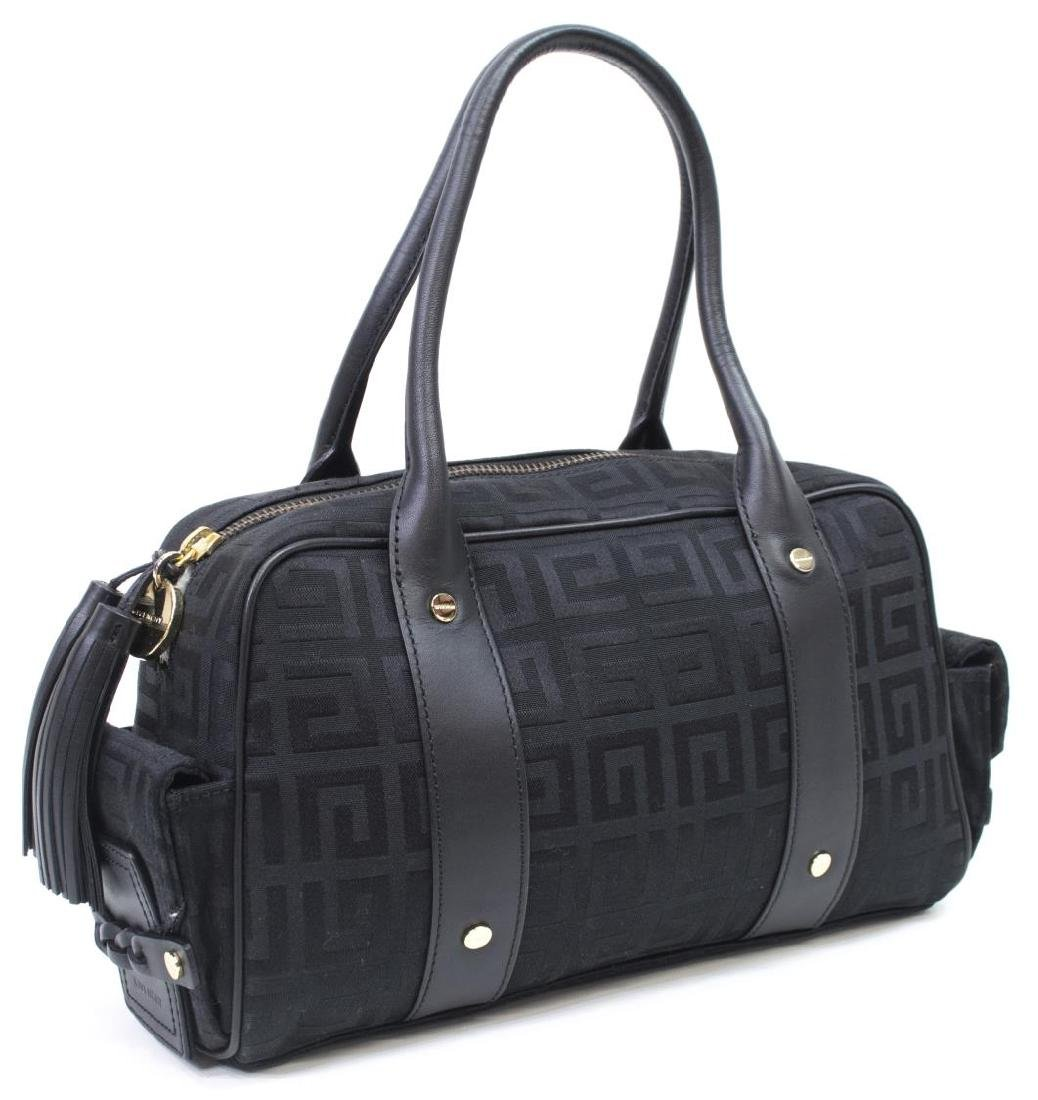 GIVENCHY BLACK MONOGRAM CANVAS & LEATHER HAND BAG