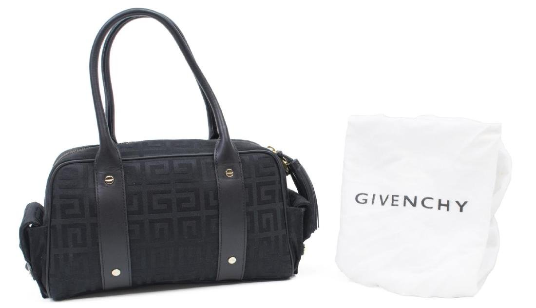 GIVENCHY BLACK MONOGRAM CANVAS & LEATHER HAND BAG - 2