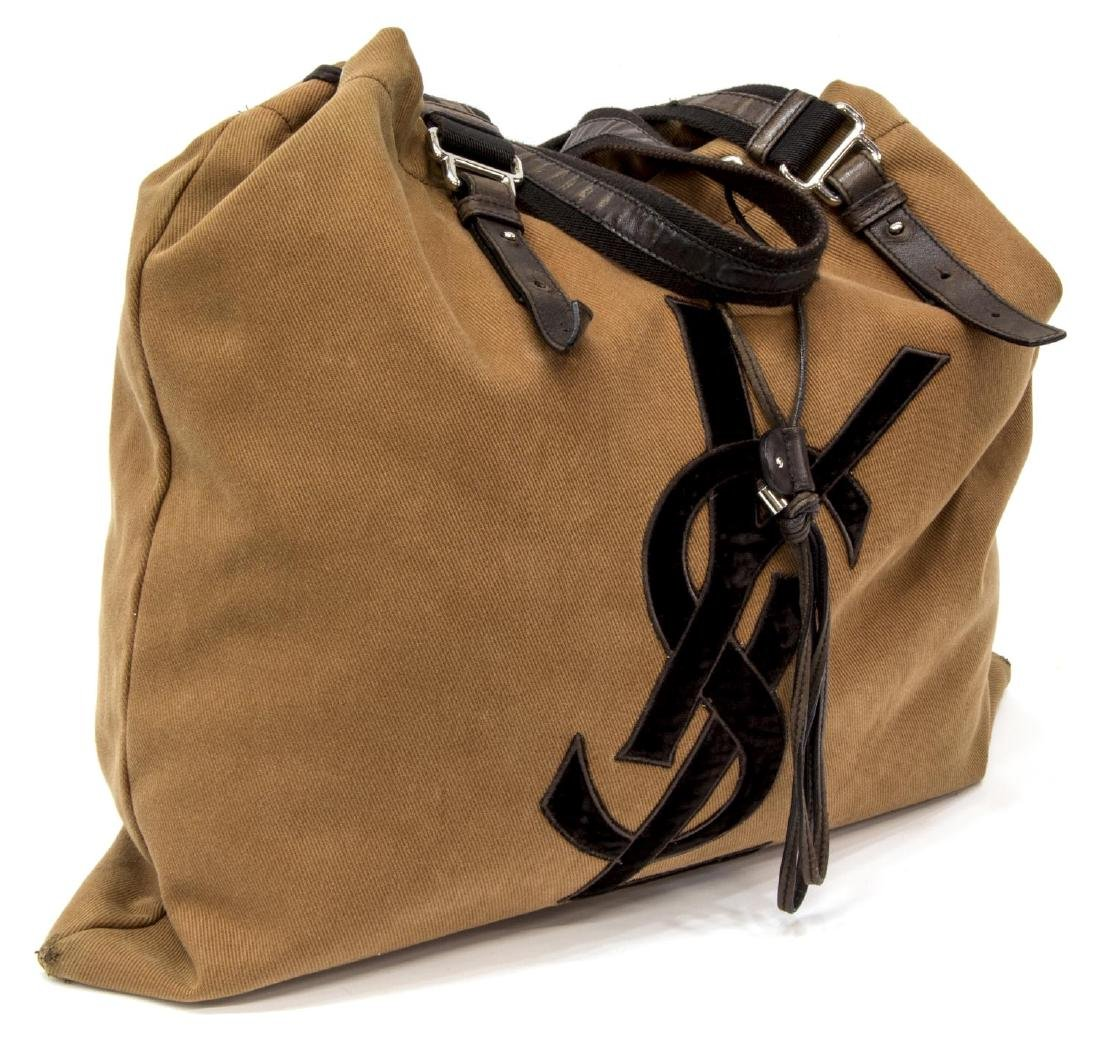 YVES ST-LAURENT BROWN CANVAS SIGNATURE TOTE BAG