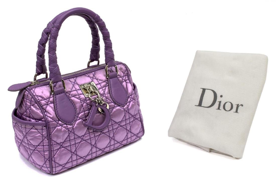 CHRISTIAN DIOR PURPLE SATIN & LEATHER CANNAGE BAG