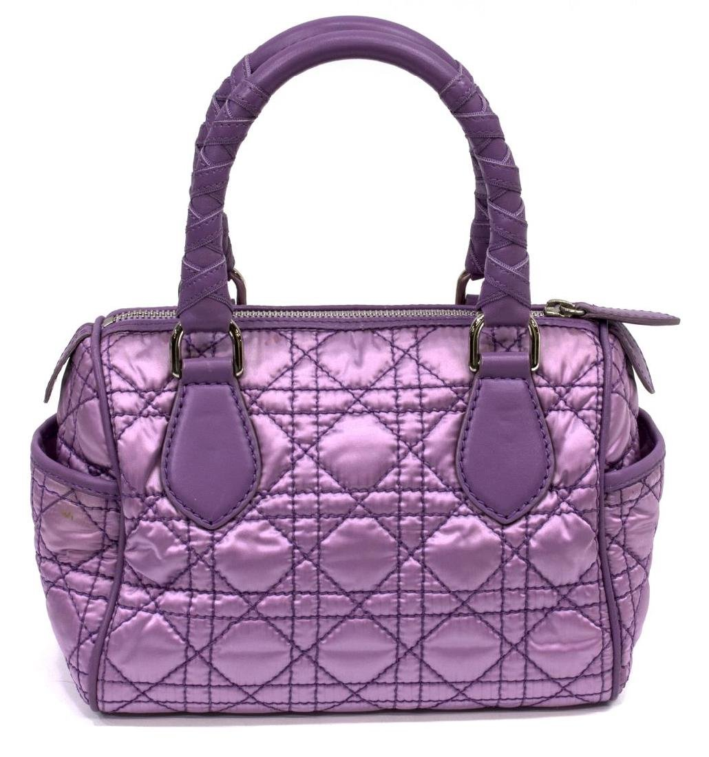 CHRISTIAN DIOR PURPLE SATIN & LEATHER CANNAGE BAG - 2