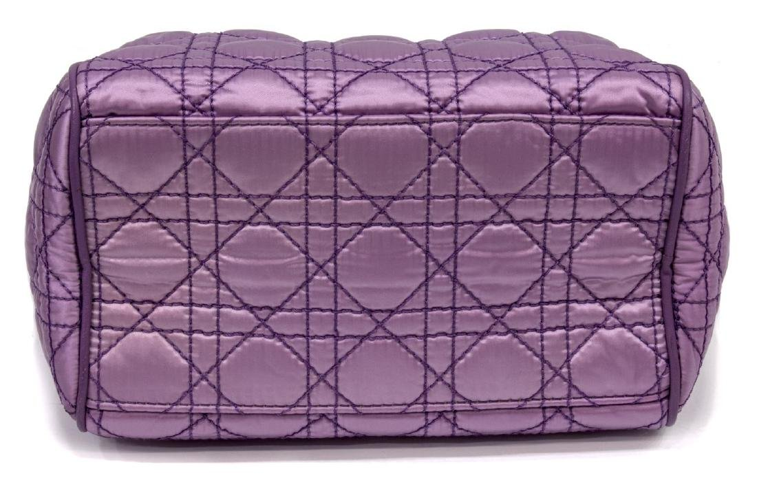 CHRISTIAN DIOR PURPLE SATIN & LEATHER CANNAGE BAG - 3
