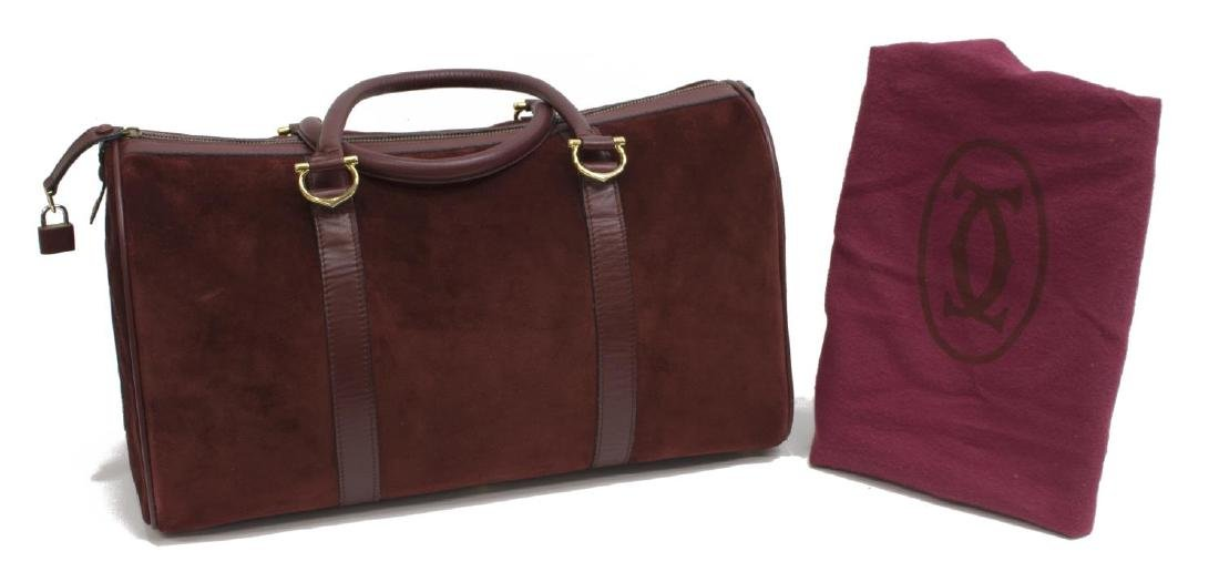 CARTIER BOSTON BURGUNDY SUEDE & LEATHER DUFFLE BAG
