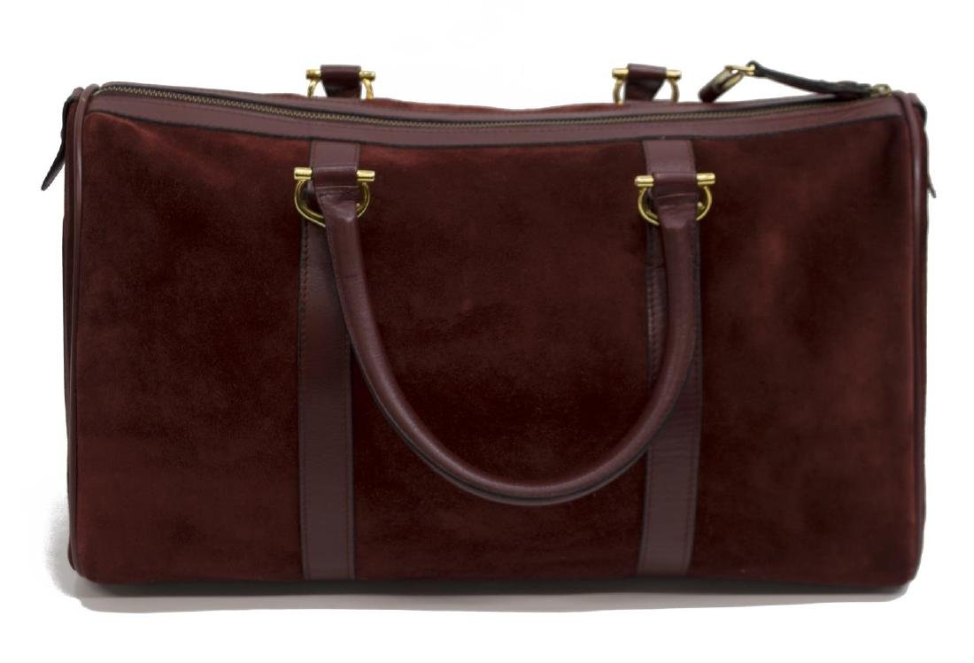 CARTIER BOSTON BURGUNDY SUEDE & LEATHER DUFFLE BAG - 2