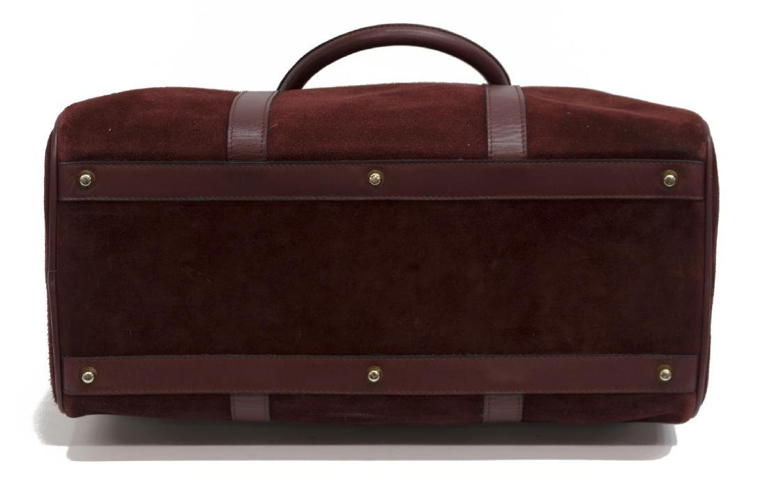 CARTIER BOSTON BURGUNDY SUEDE & LEATHER DUFFLE BAG - 3