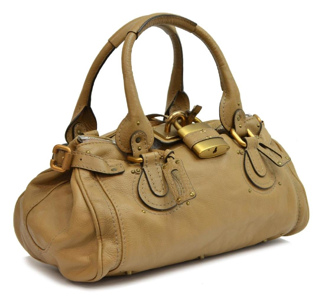 CHLOE 'PADDINGTON MM' GRAINED LEATHER HANDBAG