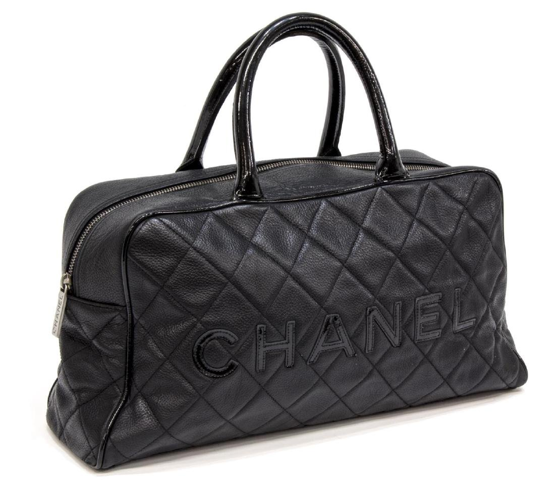 CHANEL BLACK QUILTED CAVIAR LEATHER 'BOWLING' BAG