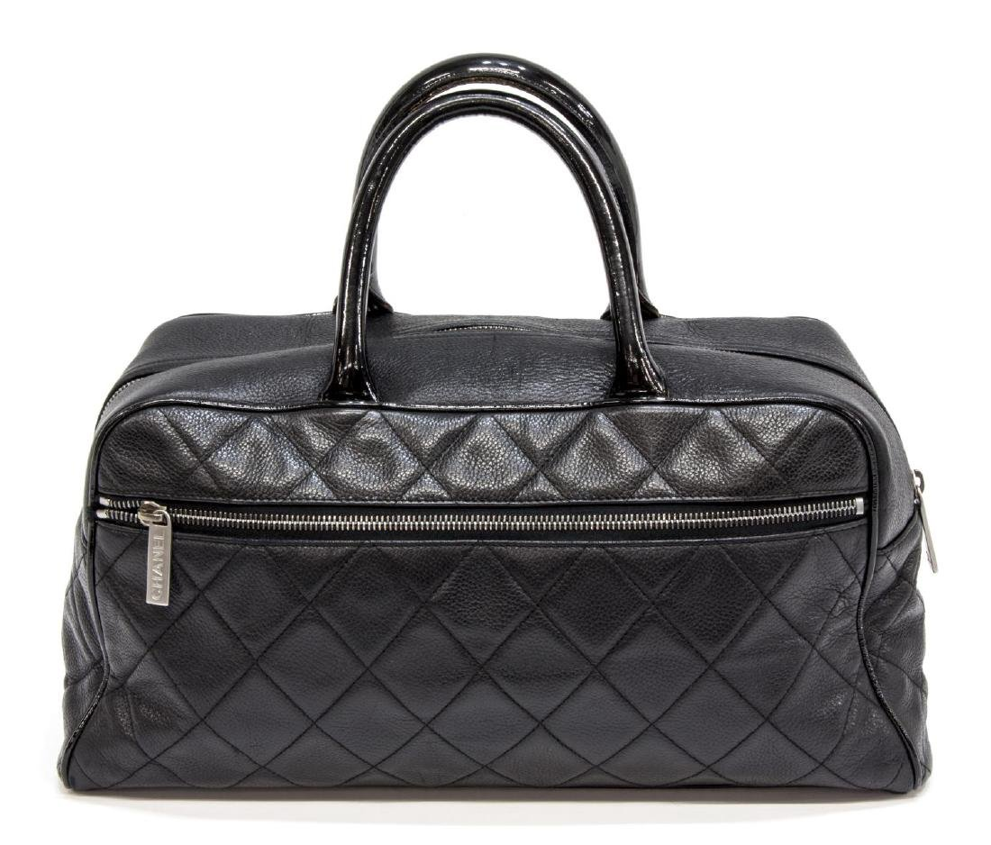 CHANEL BLACK QUILTED CAVIAR LEATHER 'BOWLING' BAG - 2