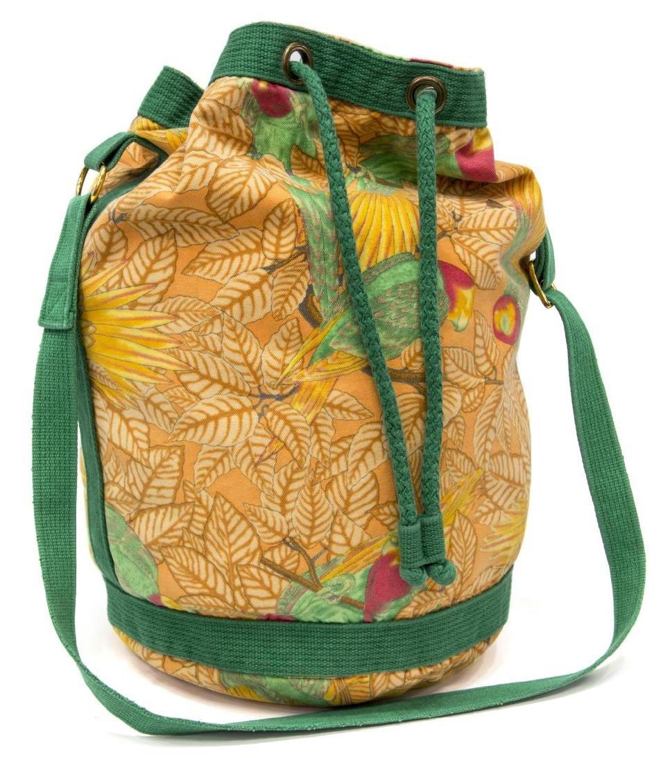 HERMES CANVAS ORANGE & GREEN TROPICAL BAG