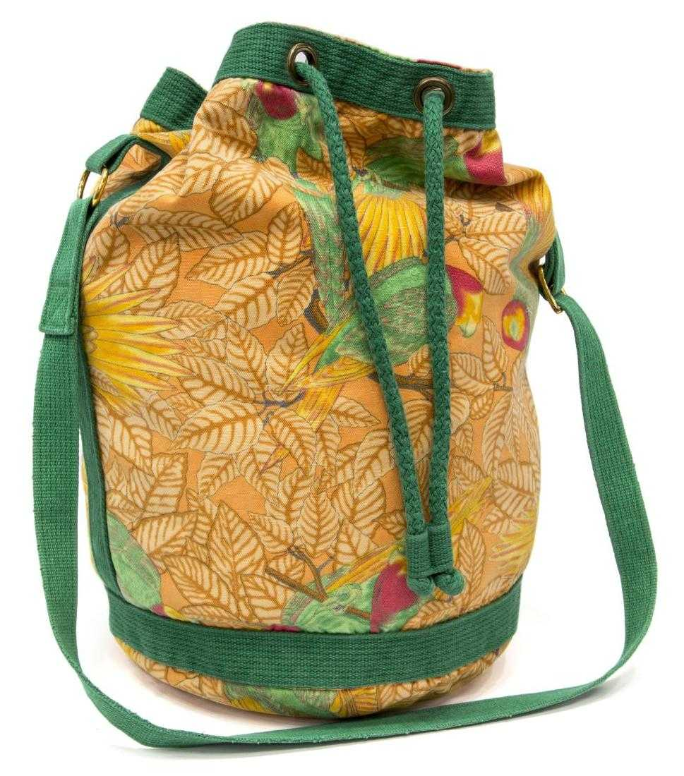 e0c0896d7765 HERMES CANVAS ORANGE   GREEN TROPICAL BAG