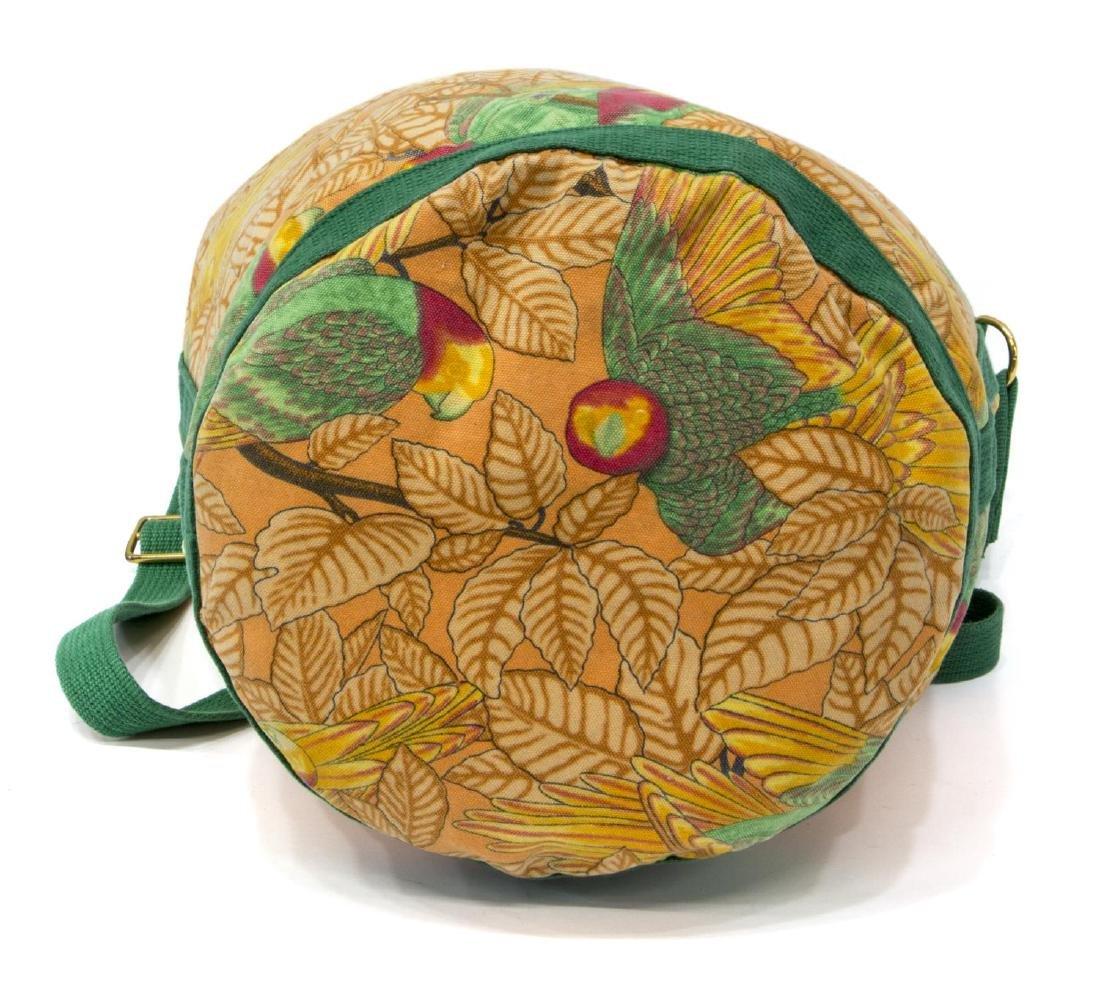 HERMES CANVAS ORANGE & GREEN TROPICAL BAG - 3