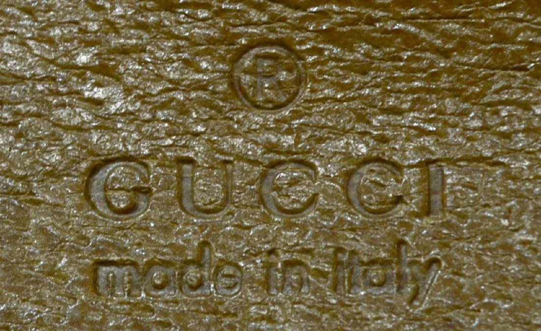 GUCCI PINK MONOGRAM & BROWN LEATHER HANDBAG - 4