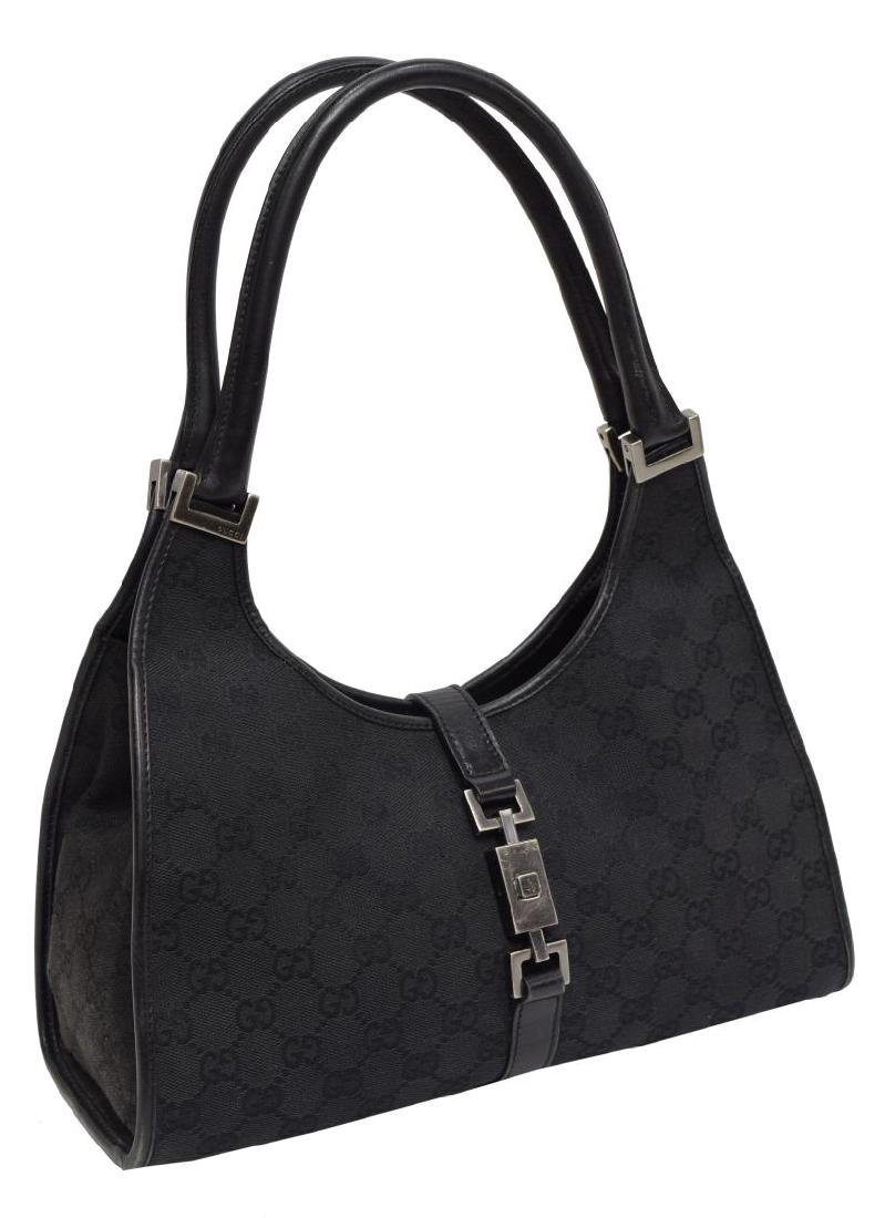 GUCCI 'JACKIE' BLACK MONOGRAM CANVAS SHOULDER BAG