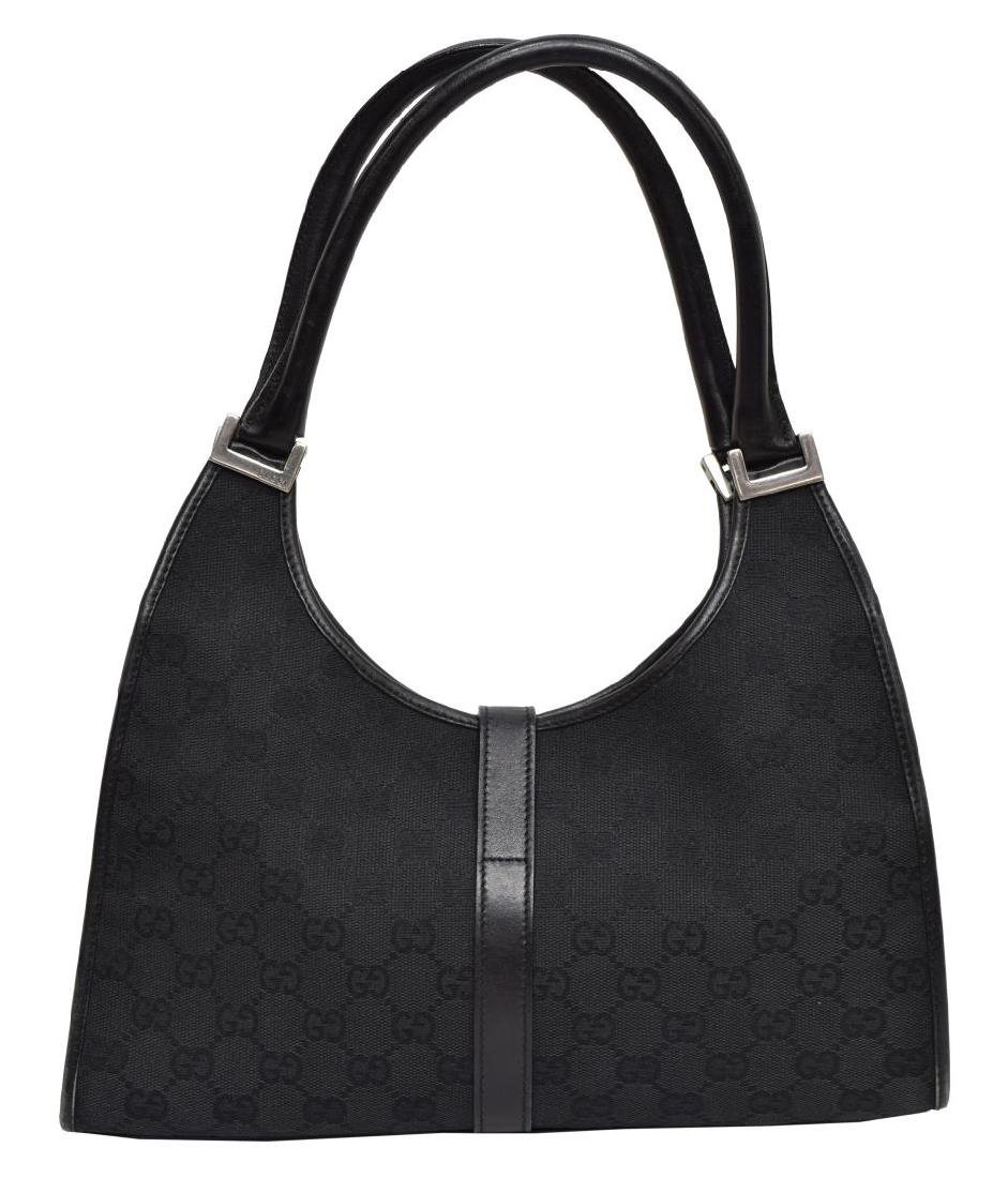 GUCCI 'JACKIE' BLACK MONOGRAM CANVAS SHOULDER BAG - 2