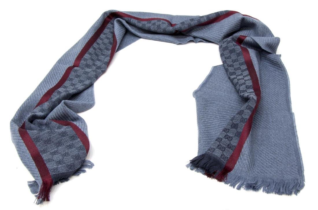 GUCCI CHAMPERY BLUE & RED WOOL SCARF / WRAP