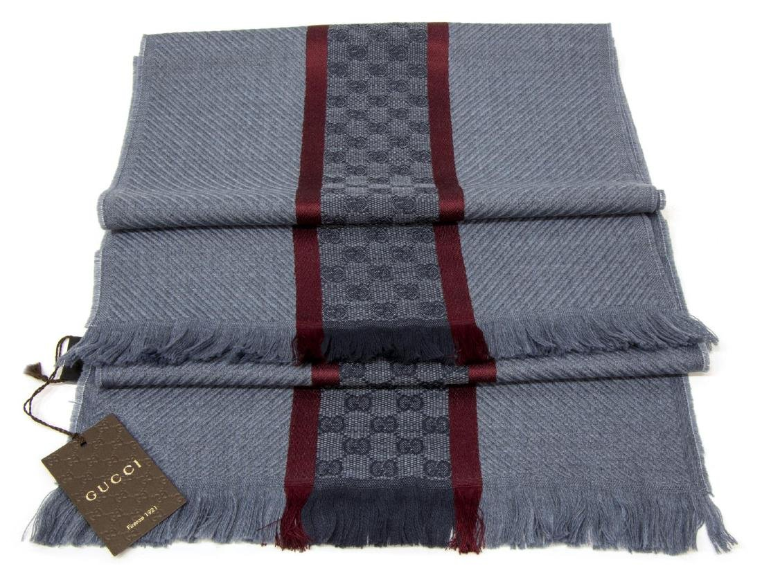 GUCCI CHAMPERY BLUE & RED WOOL SCARF / WRAP - 2