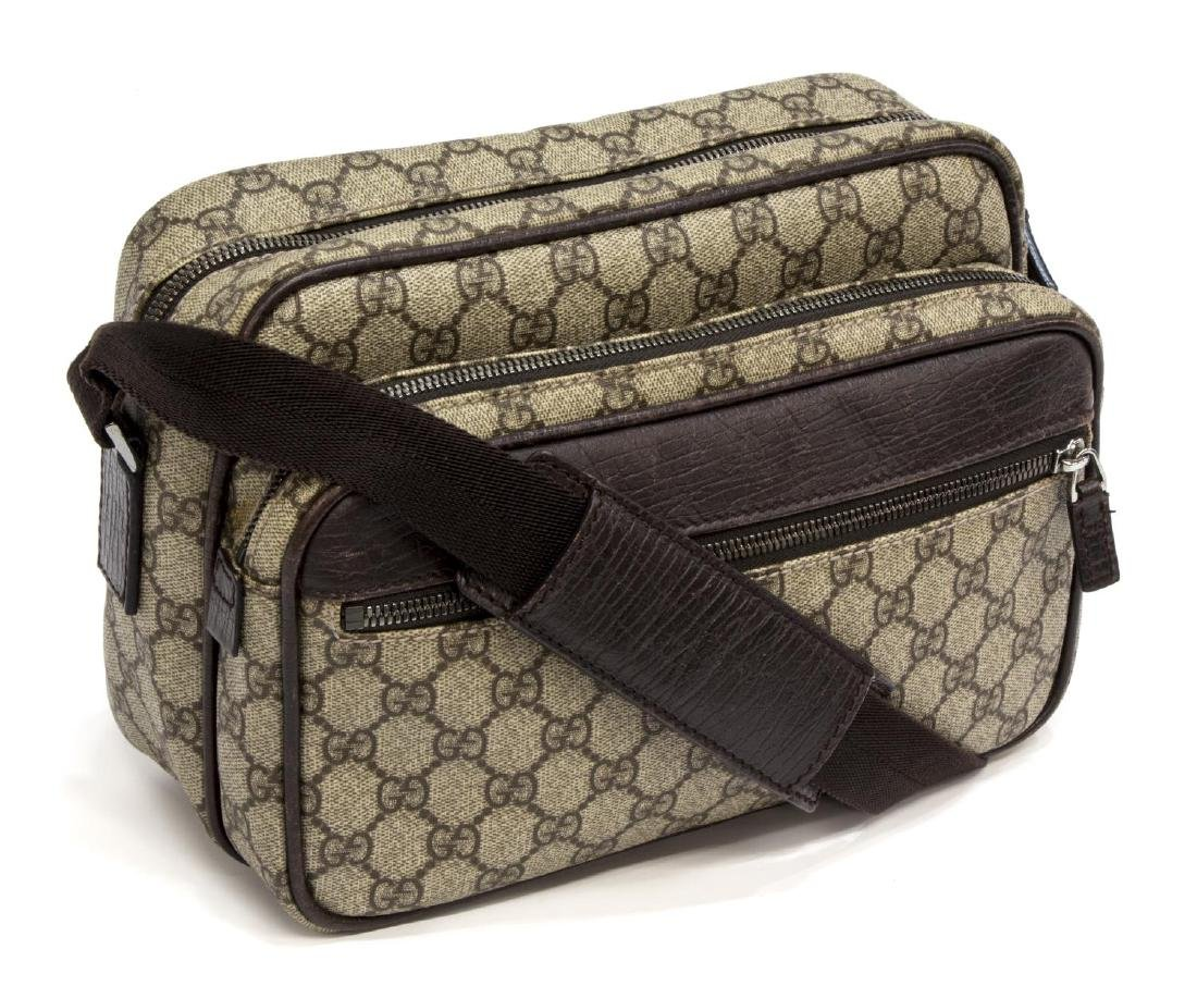 GUCCI BEIGE MONOGRAM CANVAS MESSENGER BAG
