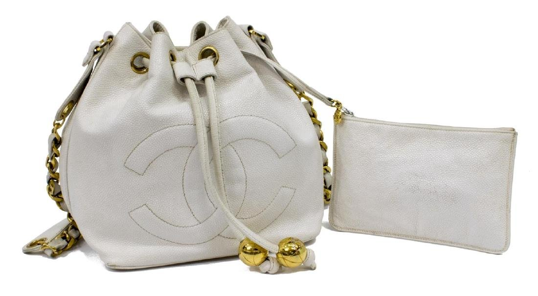 CHANEL WHITE CAVIAR LEATHER CC DRAWSTRING HANDBAG