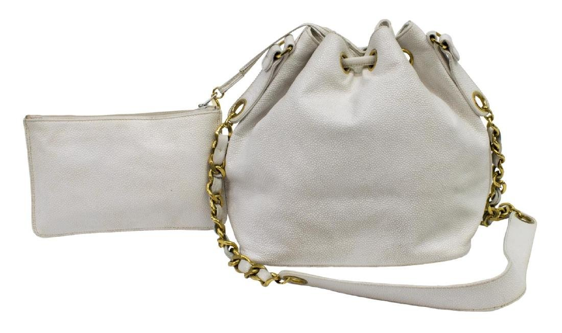 CHANEL WHITE CAVIAR LEATHER CC DRAWSTRING HANDBAG - 2