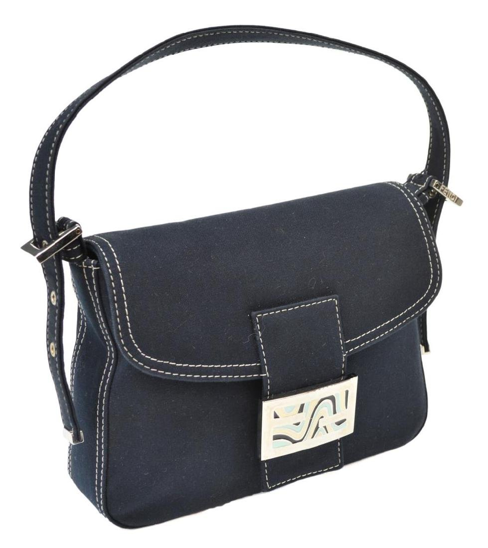 FENDI NAVY CANVAS SINGLE STRAP HANDBAG