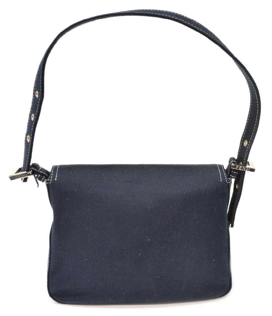 FENDI NAVY CANVAS SINGLE STRAP HANDBAG - 2