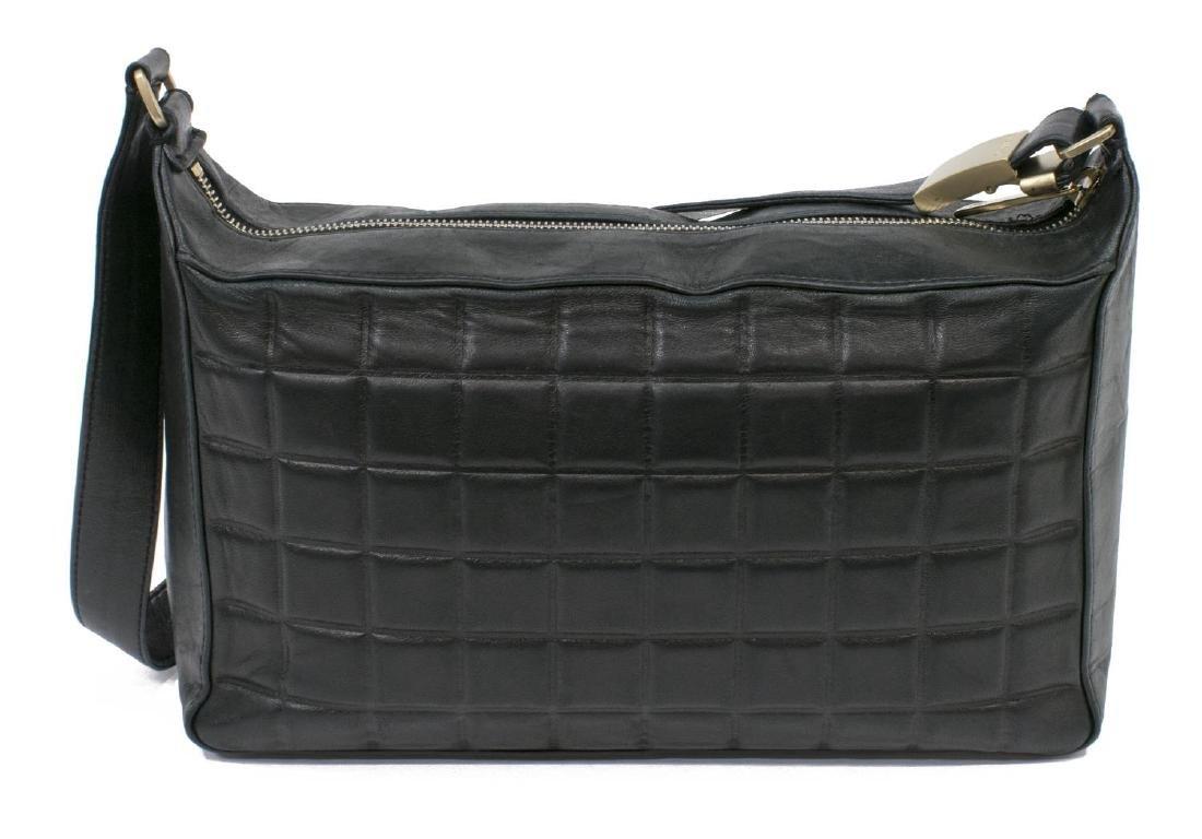 CHANEL BLACK SQUARE QUILTED LEATHER SHOULDER BAG - 2