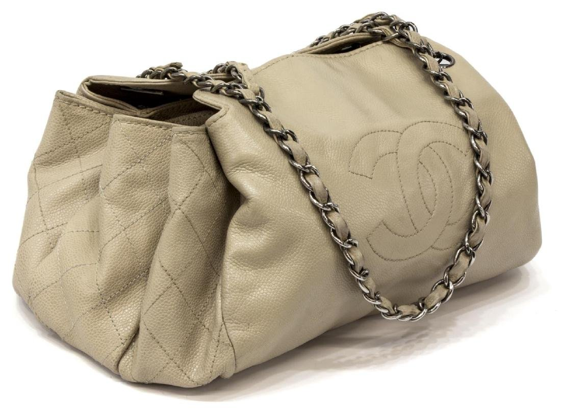 "CHANEL BEIGE CAVIAR LEATHER ""CC"" LOGO SATCHEL BAG"