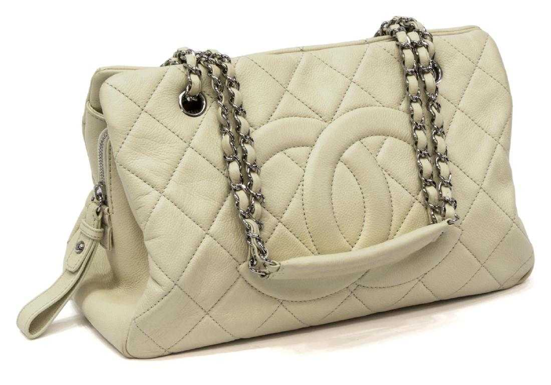 800b86dbc4c4 CHANEL QUILTED CREAM CAVIAR LEATHER LARGE TOTE BAG