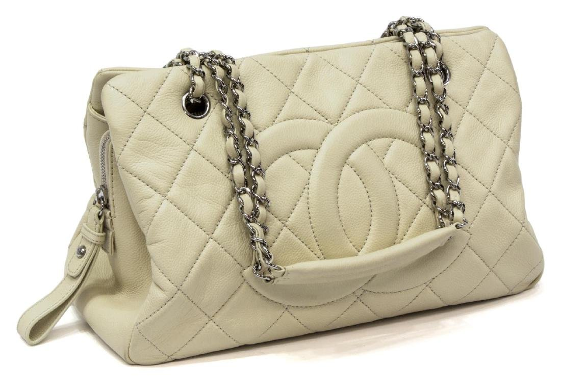 CHANEL QUILTED CREAM CAVIAR LEATHER LARGE TOTE BAG