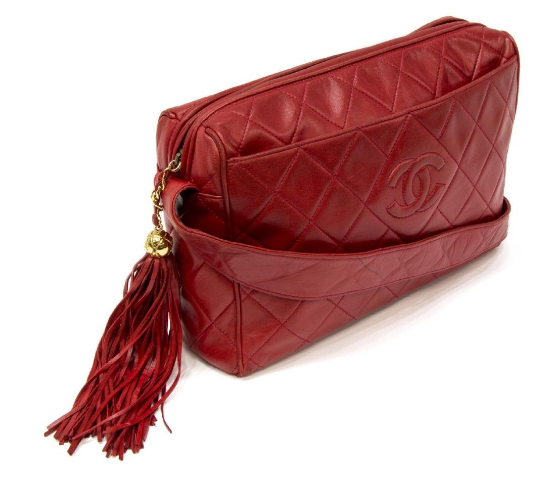 VINTAGE CHANEL RED QUILTED LEATHER TASSEL BAG