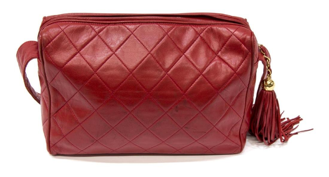 VINTAGE CHANEL RED QUILTED LEATHER TASSEL BAG - 2