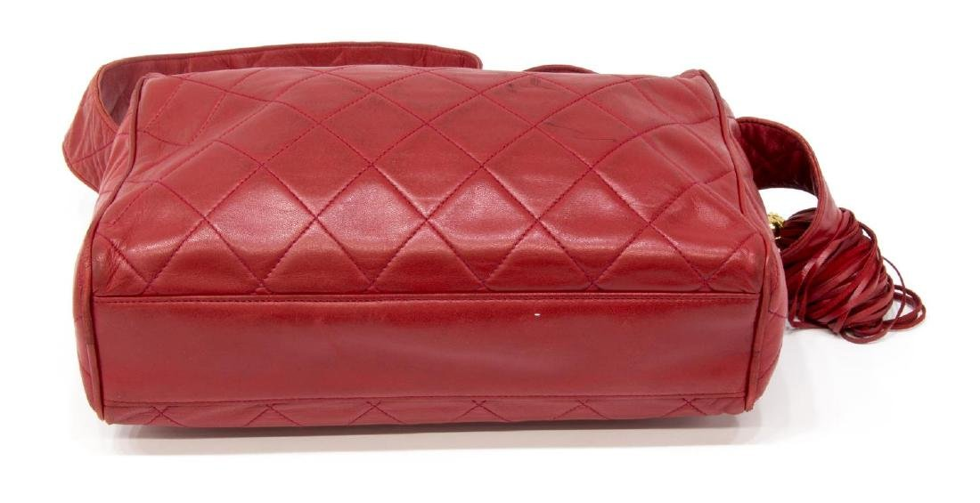 VINTAGE CHANEL RED QUILTED LEATHER TASSEL BAG - 3